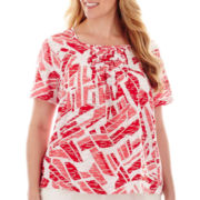 Alfred Dunner® Short-Sleeve Smocked Top - Plus