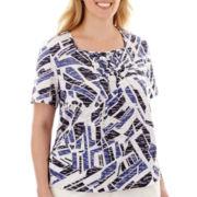 Alfred Dunner® Short-Sleeve Smocked Top - Plus