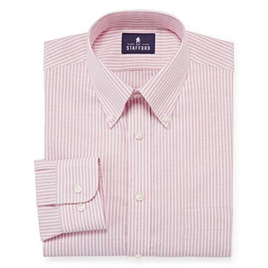 Stafford travel long sleeve wrinkle free oxford dress for Stafford dress shirts fitted