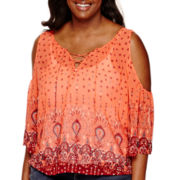 Arizona 3/4-Sleeve Cold-Shoulder Woven Top - Juniors Plus