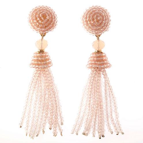Natasha Accessories Pink Crystal Drop Earrings