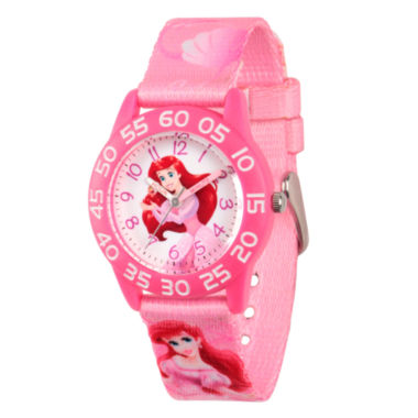 jcpenney.com | Disney The Little Mermaid Girls Pink Strap Watch-Wds000127