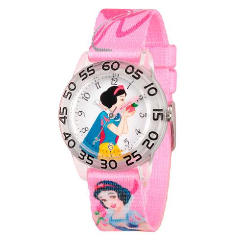 Disney Snow White Girls Pink Strap Watch-Wds000128