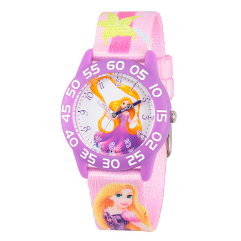 Disney Tangled Girls Pink Strap Watch-Wds000130