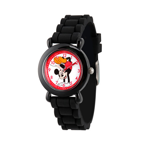 Disney Mickey Mouse Boys Black Strap Watch-Wds000141