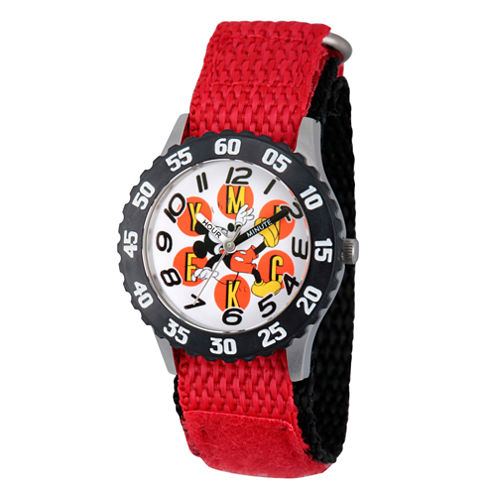 Disney Mickey Mouse Boys Red Strap Watch-Wds000153