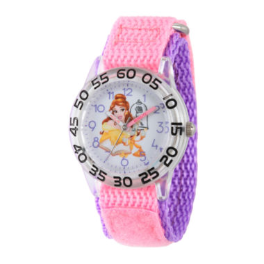 jcpenney.com | Disney Time Teacher Beauty and the Beast Girls Pink Strap Watch-W002926