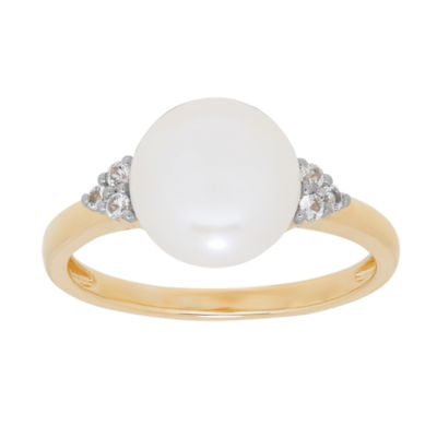 Womens Genuine White Pearl 14K Gold Cocktail Ring