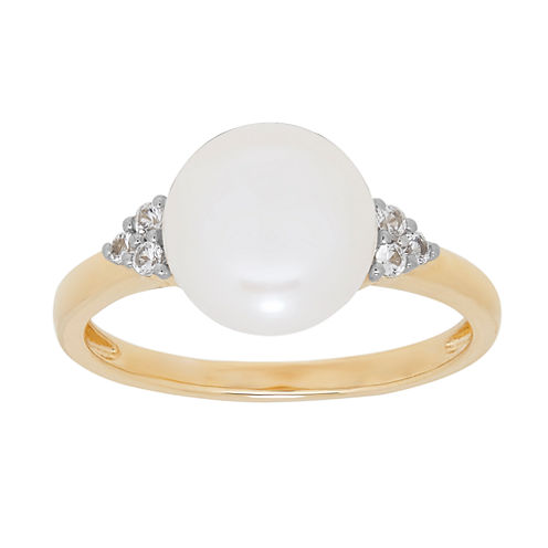 Womens White Pearl 14K Gold Cocktail Ring