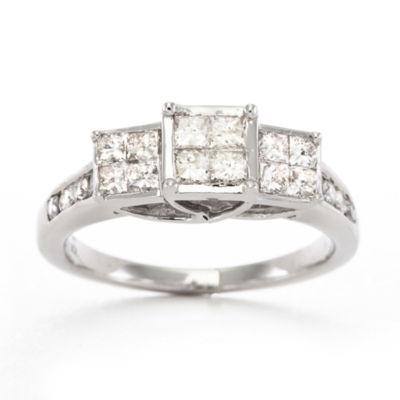T W Diamond Ring 10k White Gold