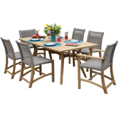 jcpenney.com | Outdoor Interiors 7 piece Nautical Teak Dining setwith teak and wicker chairs