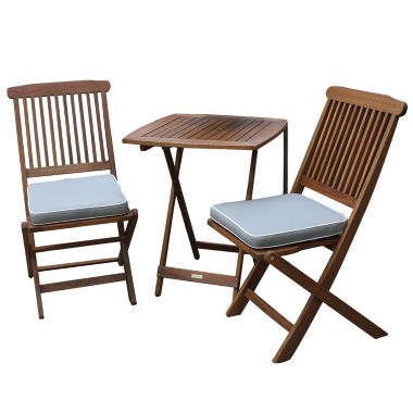 jcpenney.com | Outdoor Interiors 3pc. Square Bistro Set with GreyCushions