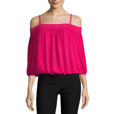 jcpenney.com | by&by Long Sleeve U Neck Blouse-Juniors