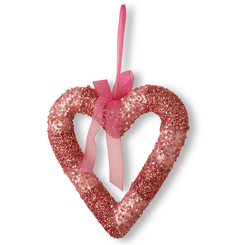 National Tree Co. Pink Bead Glittered Valentine Wreath Hanger