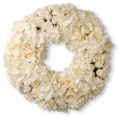 "jcpenney.com | National Tree Co. 18"" Mixed Roses And Hydrangea Wreath"