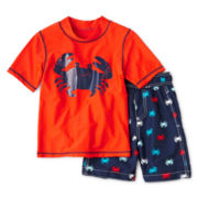 Carter's® Crab Short-Sleeve Rashguard and Swim Trunks Set - Boys 3m-4t