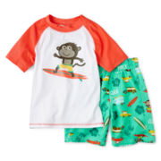 Carter's® Surf Monkey Short-Sleeve Rashguard and Swim Trunks Set - Boys 3m-4t
