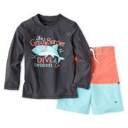 Carter's® Great Barrier Long-Sleeve Rashguard and Swim Trunks Set - Boys 3m-4t