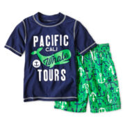 Carter's® Short-Sleeve Whale Rashguard and Swim Trunks Set - Boys 3m-4t