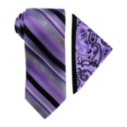 Steve Harvey® Striped Tie and Paisley Pocket Square Set
