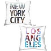 Los Angeles/New York Reversible Decorative Pillow