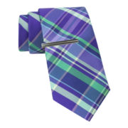 JF J. Ferrar® Mix-a-Lot Madras Tie and Tie Bar Set - Slim