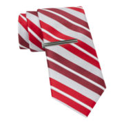 JF J. Ferrar® Boom StripeTie and Tie Bar Set - Slim