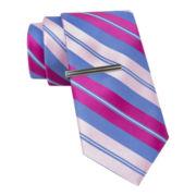 JF J. Ferrar® Boom StripeTie and Tie Bar Set - Slim