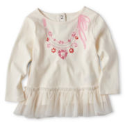 Joe Fresh™ Long-Sleeve Ruffled Necklace Tee - Girls 3m-24m