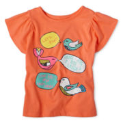 Arizona Flutter-Sleeve Graphic Tee - Girls 12m-6y