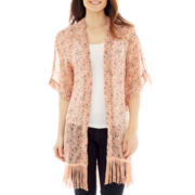 Short Floral Kimono with Fringe