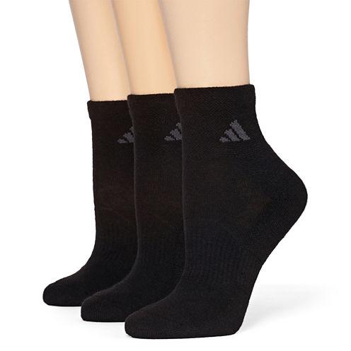 adidas® 3-pk. ClimaLite Cushioned Quarter Socks