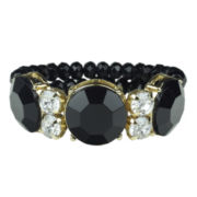 love struck™ Jet Black Stone and Crystal Stretch Bracelet