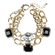 love struck™ Jet Black Stone and Crystal Gold-Tone Link Bracelet
