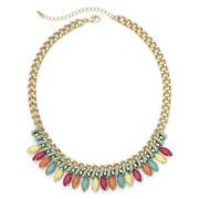 Decree® Multicolor Stone Gold-Tone Collar Necklace