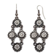 Arizona Silver-Tone Flower Chandelier Earrings
