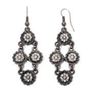 Arizona Silver-Tone Flower Chandelier Earrings