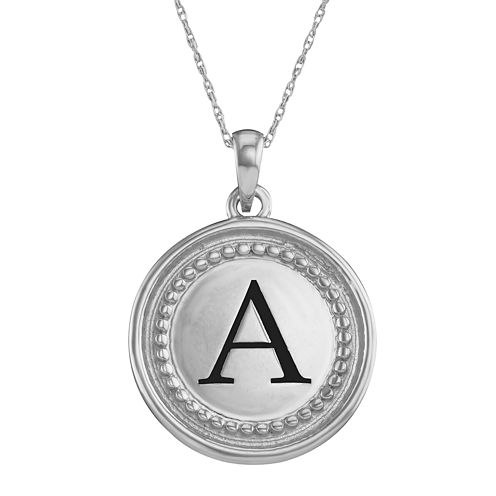 Personalized Sterling Silver Initial Disc Pendant Necklace