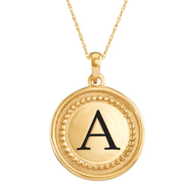 jcpenney.com | Personalized 10K Yellow Gold Initial Disc Pendant Necklace