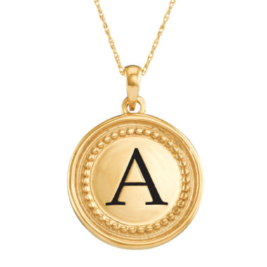 jcpenney.com | Personalized 14K Yellow Gold Initial Disc Pendant Necklace
