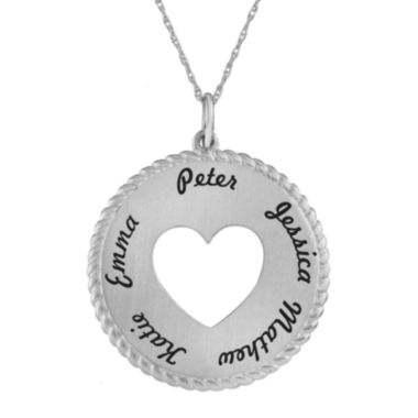 jcpenney.com | Personalized Sterling Silver Round Disc Heart Pendant Necklace