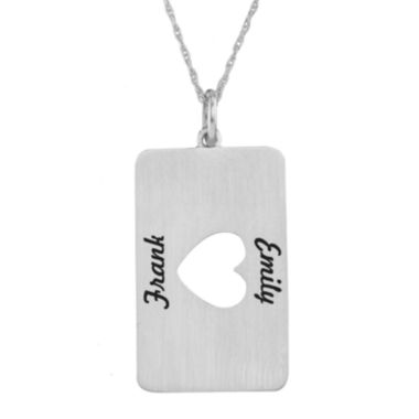 jcpenney.com | Personalized Sterling Silver Rectangular Heart Cutout Pendant Necklace