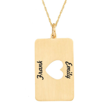 jcpenney.com | Personalized 14K Yellow Gold Rectangular Heart Cutout Pendant Necklace