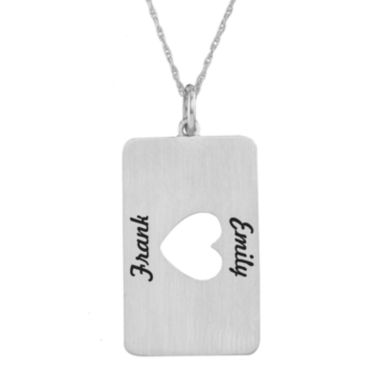 jcpenney.com | Personalized 14K White Gold Rectangular Heart Cutout Pendant Necklace