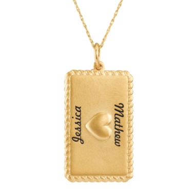 jcpenney.com | Personalized 10K Yellow Gold Rectangular Puffed Heart Pendant Necklace