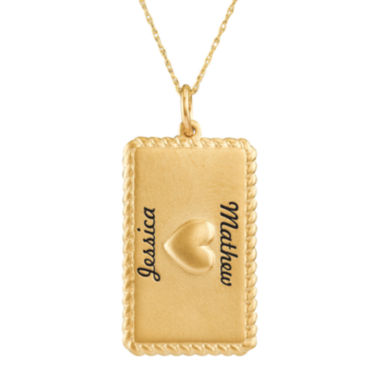 jcpenney.com | Personalized 14K Yellow Gold Rectangular Puffed Heart Pendant Necklace