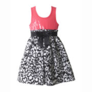 Pinky Sleeveless Sequin and Cheetah Print Dress – Girls 2t-4t
