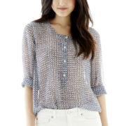 Joe Fresh™ Long-Sleeve Boho Placket Blouse