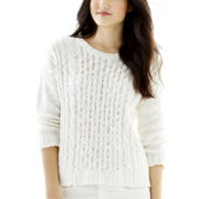 Joe Fresh™ 3/4-Sleeve Cable Crew Sweater