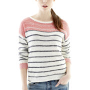 Joe Fresh™ Long-Sleeve Bouclé Striped Sweater